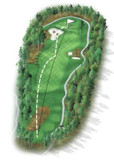 "The course begins with a short and straight par 4 with ""chocolate drop"" mounds now guarding the left side of the fairway, along with two larger bunkers on the right edge of the fairway. Typically this hole can be played with a long iron or fairway wood off the tee, leading to a wedge into the green. Long hitters will be tempted to drive the green but should beware of the substantial bunker with island features that guards the left front. A missed shot could be a tough way to start."