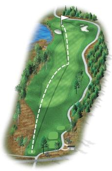 The back nine begins with a shortish par 4 and players may choose a fairway wood instead of a driver. It is a straight par 4 but now contains a two-tiered bunker on the right side of the green that accentuates a classic New England look.