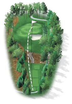 The strongest par 3 on the course features a massive bunker guarding the front right of the green. The left side has been contoured, allowing shots hit to the left to funnel down toward the green. Players will be happy to finish with a 3 on this hole.