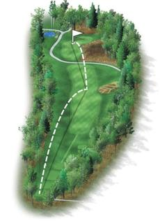 This long, dogleg left par 4 is the only hole at the TPC without a bunker. The target off the tee will be a newly created ridge on the right side of the fairway, leaving a mid- to short-iron approach to a green guarded by a hazard on the front right side.