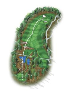 Another long par 4 where hitting the fairway is a must. Drives must carry the rocky ledge in the fairway, leaving a long- to mid-iron into a green with a bunker on the front right. Par is a good score.