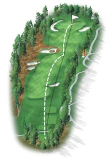 The 15th is a strategic par 4 that requires thought off the tee. To have a clear shot at the pin, drives must be to the left side of the fairway, avoiding four fairway bunkers. A new tee box this year will present a more challenging tee shot to the player and recently added mounding right of the fairway eliminates the opportunity of bailing out to the right.