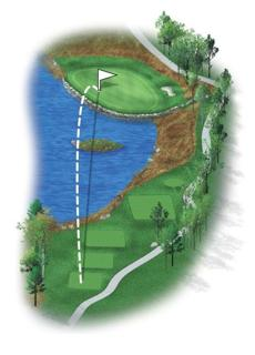 This newly created par 3, although the shortest on the course, will surely test the players' nerves. Water guards the front and left rear of the green, where pin positions are sure to be close to the water's edge. A stone wall now protects this two-tiered green, giving the hole some true New England character. An accurate tee shot will be paramount to save par.
