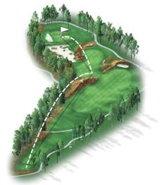 My favorite hole on the back nine. This quirky, short par 4 provides many options off the tee, as a ridge protected by church pews help divide the fairway. A safe play down the right side of the fairway will leave you with around a 150-yard approach, while longer hitters can carry their drive over the ridge onto the lower fairway, leaving just a wedge to the green. This hole will be pivotal down the stretch.