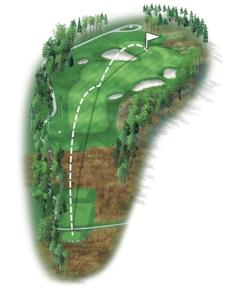 The fourth hole contains some of the more significant changes on the course. This hole is a driveable par 4, however a number of options exist off the tee. A layup will result in a full approach to the pin, or a drive placed to the widest part of the fairway will set up a tricky little pitch over the yawning bunker that guards the left side of the green.