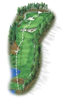 This monster par 5 requires an accurate and long tee shot. A gigantic bunker crosses the entire fairway and requires players to choose to either lay up short and have a blind third shot or try and carry to get in position for a potential birdie.