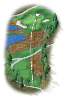 The eighth hole is a long par 3 that has been strengthened by deep bunkers and is enclosed by a grass hollow at its rear that promotes uneven strands and lies if a player misses the green.