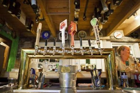Taps at Blackback Pub in Waterbury, Vermont, Friday, August 24, 2012. photo by Monica Donovan for the Boston Globe