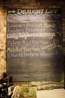 Draught list at Blackback Pub in Waterbury, Vermont, a hangout spot for both fly fishermen and beer lovers. photo by Monica Donovan for the Boston Globe