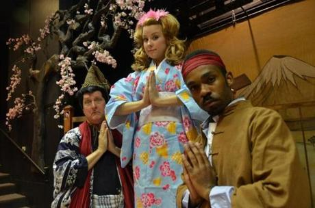 "Bob Jolly (left), Erica Spyres, and Davron S. Monroe appear in Lyric Stage Company's ""The Mikado.''"