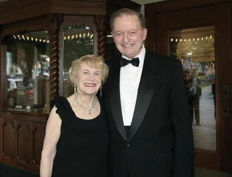 8-31-2012 Norwood, Mass. 450 guests attended the Norwood Theatre Gala in Honor of the Original Opening August 31, 1927, tonight with North Shore Acapella and Gina Mark Bank. L. to R. are Clare and Frank McLaughlin of West Roxbury Globe photo by Bill Brett