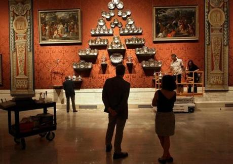 The Koch gallery displays Hanoverian silver from the MFA's holdings, paintings, and four 17th-century tapestries from the Palazzo Barberini in Rome.