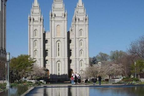 The Salt Lake Temple and Reflecting Pool on Temple Square.