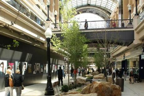 A re-creation of City Creek flowed through the newly opened City Creek Center, a retail and office complex in downtown Salt Lake City, Utah.