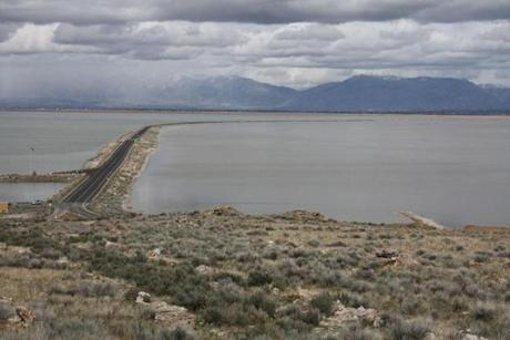 Antelope Island State Park is situated in the Great Salt Lake. The island can be reached via a 7-mile causeway from the mainland.
