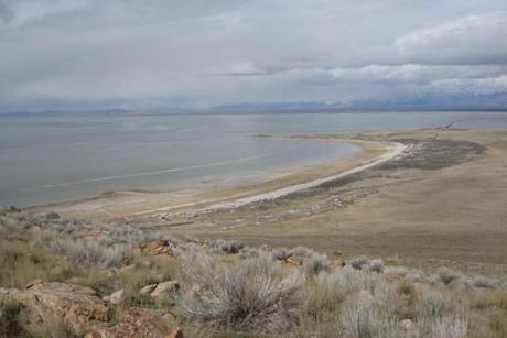 Bridger Bay with campground and the Great Salt Lake as seen from a viewpoint on Buffalo Point Trail in Antelope Island State Park, Utah.