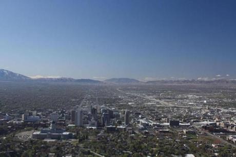 View of the Salt Lake Valley with downtown Salt Lake City (Utah State Capitol is bottom left) from the overlook on Ensign Peak.