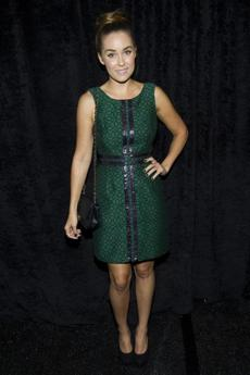 Lauren Conrad attended the Tracy Reese Spring 2013 show in green.