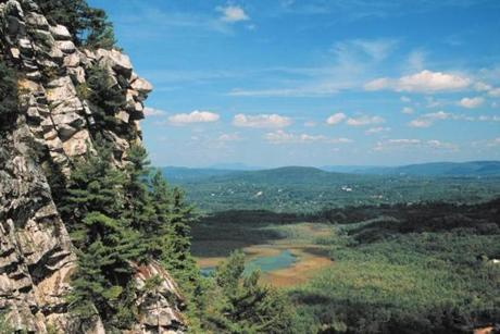 At Monument Mountain in Great Barrington, Squaw Peak offers views of Mount Greylock near Vermont and the Catskills of New York.