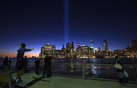The Tribute in Light illuminated the sky over New York's lower Manhattan skyline on Sept. 10.
