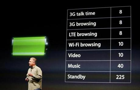 Schiller also talked about the device's battery life.