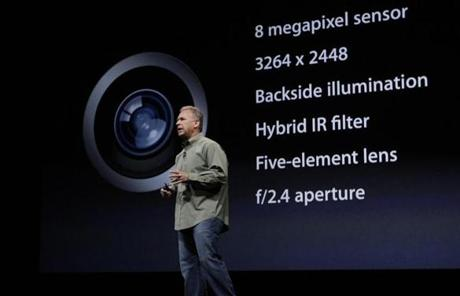 Schiller talked about the iPhone's improved camera at the event.