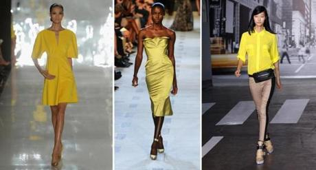 LEMON CHIFFON was all the rage from designers (from left) Chado Ralph Rucci, Zac Posen, and DKNY.
