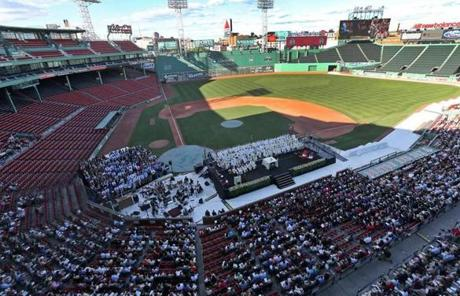 A Mass was held at Fenway Park Saturday to launch Boston College's three-semester celebration of its 150th anniversary.