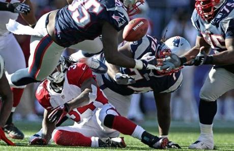 Vince Wilfork recovered this Arizona fumble in the fourth quarter.