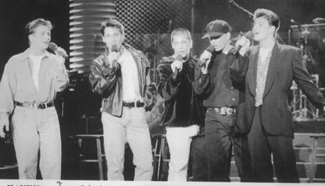 ops photo by AP b&w February 7, 1992 New Kids on the Block performing on