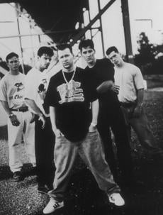 ops photo by b&w January 11, 1994 New Kids on the Block from left Joe McIntyre, Jordan Knight, Donnie Wahlberg, Jonathan Knight, Danny Wood. bw ----- 0930NKOTB