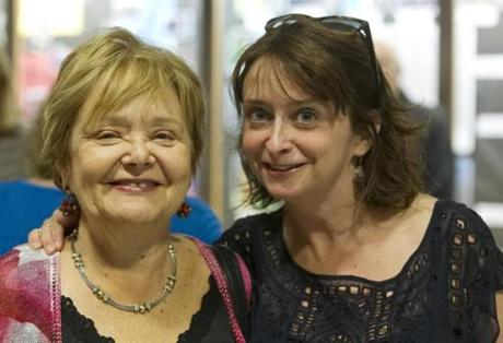 Lexington MA 9/16/12 Rachel Dratch (cq), right with her mom, Elaine Dratch (cq0 before reading from her latest book,
