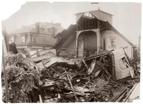 September 23, 1938: The remains of St. Hedwig's Catholic church at 99 Otis Street, East Cambridge, the oldest Polish Catholic church in the city. Amazingly, the altar was unharmed.