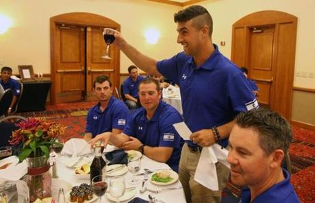 Bullpen catcher Nate Fish delivered the blessing for when the team gathered for Rosh Hashanah dinner on Sunday.