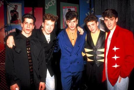 The members from the rock group New Kids on the Block (l-r) Joe McIntyre, Donnie Wahlberg, Jon Knight, Danny Wood and Jordan Knight. (Photo by Robin Platzer//Time Life Pictures/Getty Images) Published in NYTimes 01/31/04 Published caption: Super Bowl XXV, 1991: New Kids on the Block performed at Tampa Stadium. (Getty Images) Library Tag 04012008 ----- 0930NKOTB