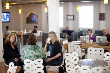In West Concord, The Wheelhouse at The Bradford Mill, is a pretty hip address. In a converted chair factory, entrepreneurs, traveling chief executives, and all manners of freelancers rent offices, desks, and gain access to a private cafe for a monthly fee.