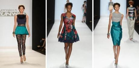 "Williams's designs at a ""Project Runway"" show, part of New York's Fashion Week."