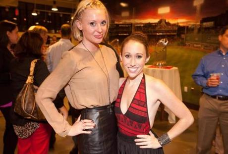 9/18/12 Boston, MA -- From left, Olivia Moravec of Brookline and Kayla Harrity of Boston at a VIP Party at Fenway Park following the Boston Premiere of