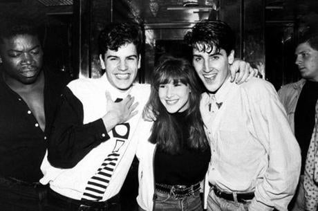 Pop singer Tiffany (C) w. New Kids on the Block members Jordan (L) & Jon (R) Knight at party at Hard Rock Cafe. (Photo by Robin Platzer/Twin Images/Time Life Pictures/Getty Images)