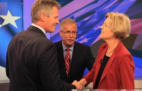 Brown and Warren shook hands before the debate.
