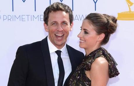 Actor Seth Meyers and wife Alexi Ashe.