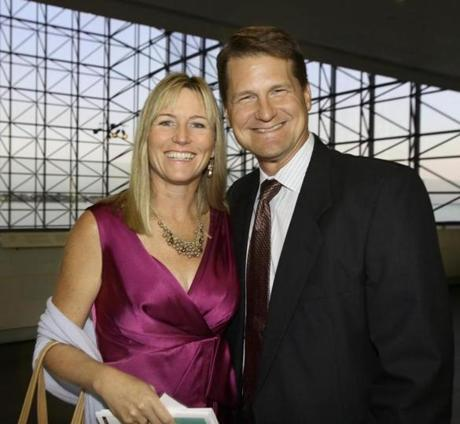 9-22-2012 Dorchetser ,Mass. Over 300 guests attended ''Homestart Fall Gala,'' One Night, One Mission, End Homelessness held at John F. Kennedy Library in Dorchester. L. to R. are Jen and Dennis Kelly of Hingham Globe photo by Bill Brett