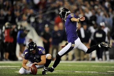 Placekicker Justin Tucker of the Ravens booted the game-winning field goal against the Patriots in the fourth quarter.