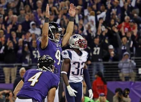 Ravens kicker Justin Tucker celebrated after nailing the game-winning kick.