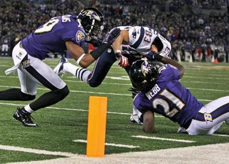 No penalty was called on this tackle of Wes Welker by Lardarius Webb.