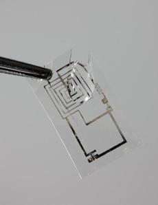 A dissolvable electronic circuit.