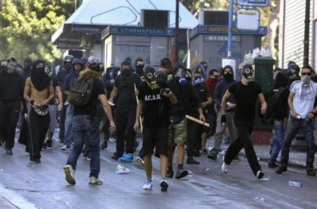 Protesters in Athens.