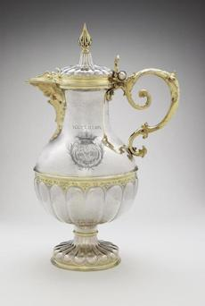 Wine pot by Friedrich Kettwyck (active in 1643-1670, one of about 130 pieces of silver displayed in the gallery.