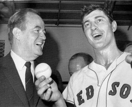 Vice President Hubert H. Humphrey, left, congratulated Yastrzemski after his 44th home run helped the Red Sox claim a pivotal 6-4 win.