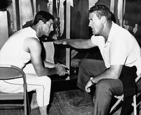 Ted Williams gave some pregame hitting advice to Yastrzemski, who replaced him as the Red Sox' left fielder.
